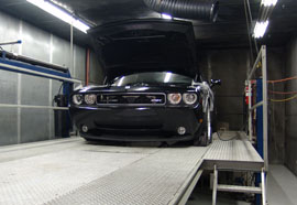 Supercharged 2009 Challenger 449 SRT on the dyno