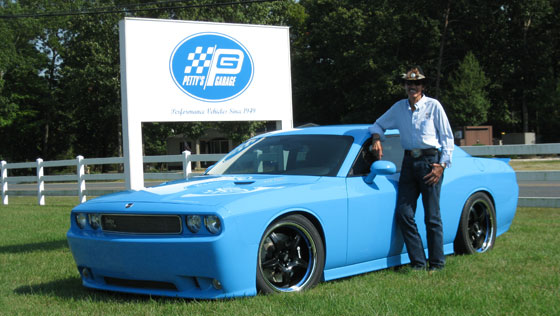 Richard Petty with his custom 426 HEMI engine powered 2009 Dodge Challenger SRT8